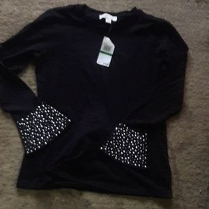 MICHAEL KORS BLACK COTTON W/ SIVLER STUDDED SLEEVE
